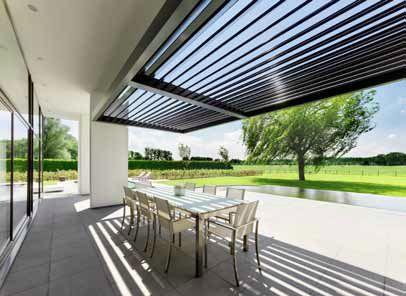 Umbris van harol combineert zonwering met neerslagbescherming harol - Overdekt terras in aluminium ...