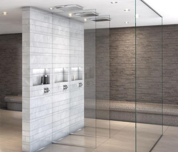 l 39 l ment mural sanwell de wedi avec niche int gr e apporte plus de place dans les salles de. Black Bedroom Furniture Sets. Home Design Ideas