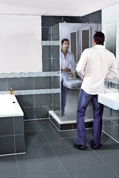 La paroi de douche libre air et la paroi miroir deux nouveauts duscholux qu - Porte de douche miroir ...