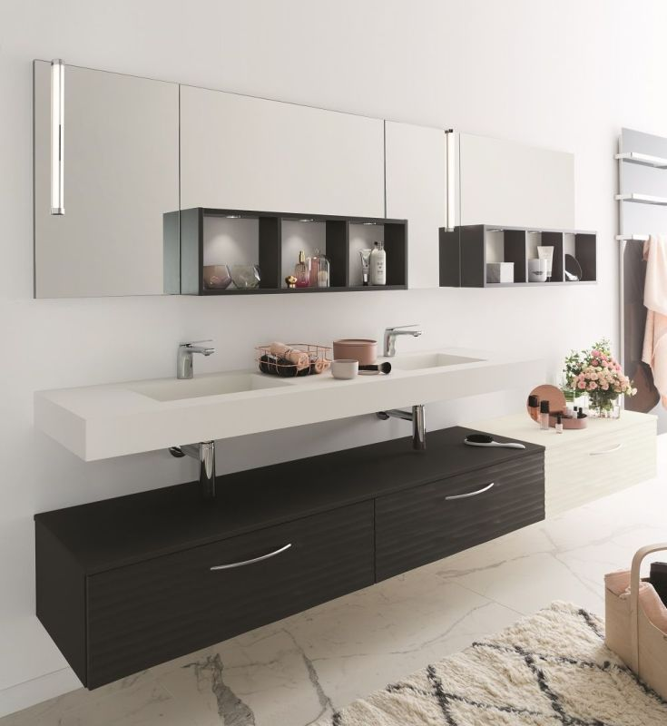 plan de travail noir en stratifi luxe pour salle de bain. Black Bedroom Furniture Sets. Home Design Ideas