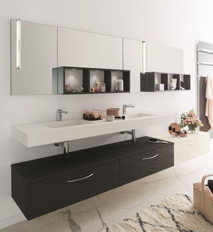 Plan de travail noir en stratifi luxe pour salle de bain Stratifie pour salle de bain
